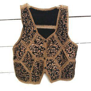 Vintage Hippie Boho Suede Crochet Vest